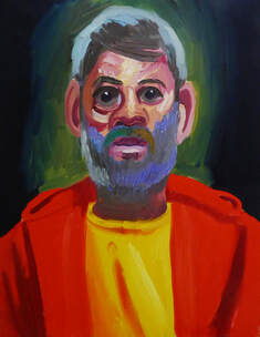 Self Portrait of Dave Gamble in red hoodie and yellow t-shirt.